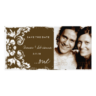 GC | Brown Vintage Damask Save the Date Photo Card