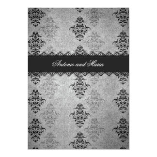 GC | Charcoal Gray Vintage Glam Personalized Invitations