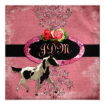 GC | Eclectically Vintage Damask Horse Fade Red 13 Cm X 13 Cm Square Invitation Card