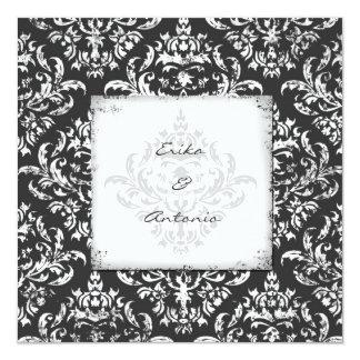 GC | Erika Vintage Damask-Gray 5.25x5.25 Square Paper Invitation Card