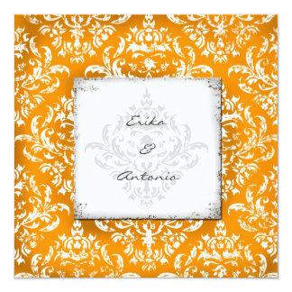 GC Erika Vintage Damask-Orange 13 Cm X 13 Cm Square Invitation Card