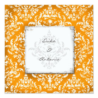 "GC Erika Vintage Damask-Orange 5.25"" Square Invitation Card"