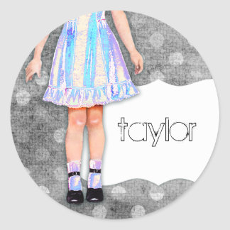 GC | Girly Girl Doll Funky Blue Round Sticker
