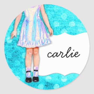 GC | Girly Girl Doll Funky Blue Turquoise Dots Round Sticker