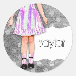 GC | Girly Girl Doll Funky Purple Round Sticker