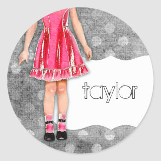 GC | Girly Girl Doll Hot Pink Round Sticker