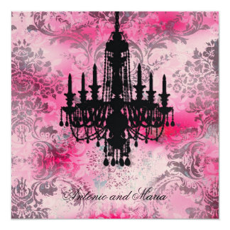 GC | Jolie Black Chandelier Pink Gray Damask Card