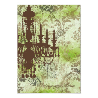 "GC | Jolie Chandelier Lime Brown Damask 5"" X 7"" Invitation Card"