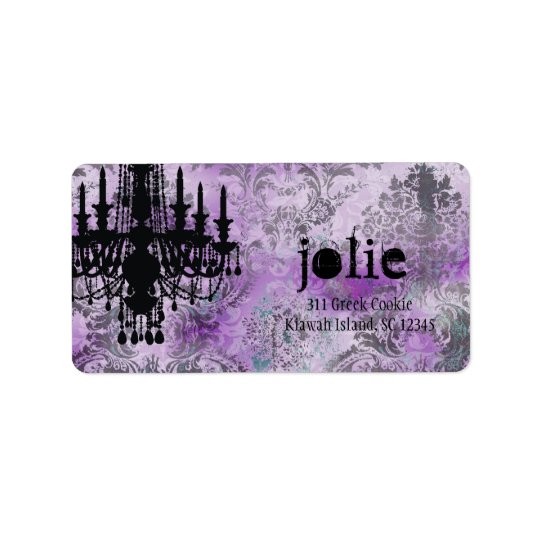 GC | Jolie Chandelier Purple Grey Damask Label