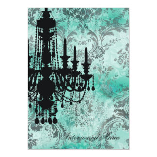 GC | Jolie Chandelier Turquoise Grey Damask Card