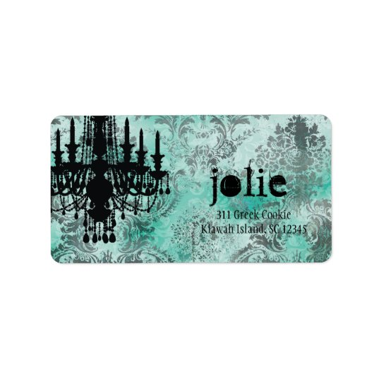 GC | Jolie Chandelier Turquoise Lime Damask Address Label