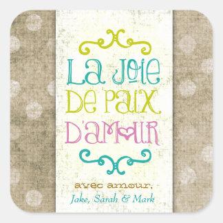 GC La Joie DePaix D' Amour Tan Dots Square Sticker