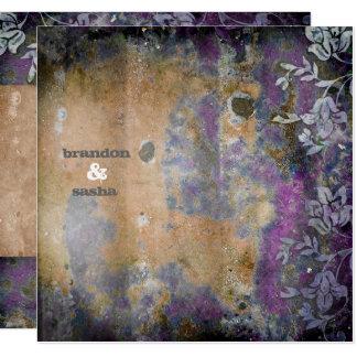 GC | Lusciously Rustic DarkPurple Flower Metallic 13 Cm X 13 Cm Square Invitation Card