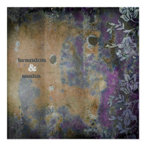 GC | Lusciously Rustic DarkPurple Flower Metallic Personalized Invites