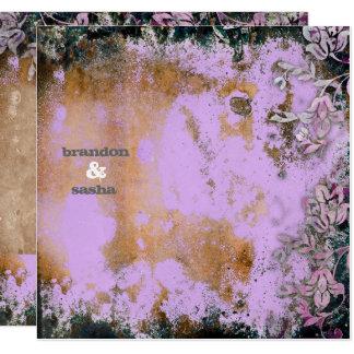 GC | Lusciously Rustic Purple Flower Metallic 13 Cm X 13 Cm Square Invitation Card