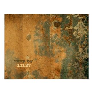 GC | Lusciously Rustic RSVP  | Golden Metallic Invitation
