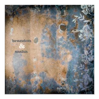 GC | Lusciously Rustic w/flower | Golden Metallic 13 Cm X 13 Cm Square Invitation Card