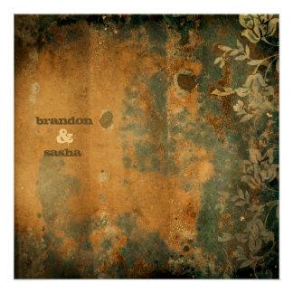 GC | Lusciously Rustic w/flower | Golden Metallic Custom Invitation