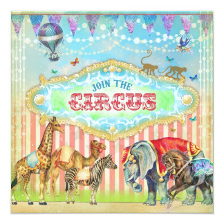 GC Magical Join the Circus Vintage Stripes Boy 13 Cm X 13 Cm Square Invitation Card