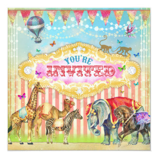 GC Magical Join the Circus Vintage Stripes Invite