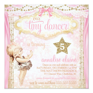 GC Magical Vintage Tiny Dancer Ballerina 13 Cm X 13 Cm Square Invitation Card
