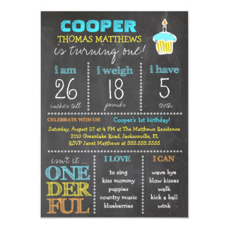 GC Onederful First Birthday Boy Chalkboard Card