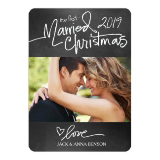 GC Our First Married Christmas Holiday Card Chalk 13 Cm X 18 Cm Invitation Card