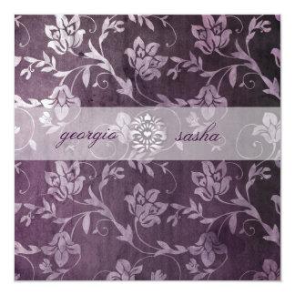 GC Passionately Purple Floral Vintage 13 Cm X 13 Cm Square Invitation Card