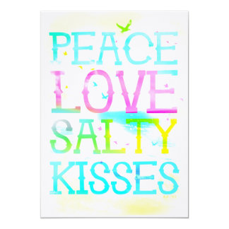 GC Peace Love Salty Kisses 13 Cm X 18 Cm Invitation Card