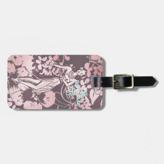 GC Pink Aqua My Paradise Life Hawaiian Hula Pinup Luggage Tag