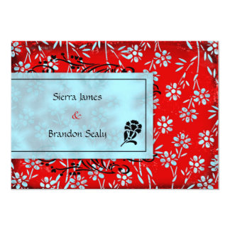 GC | Ruby Red & Turquoise Garden Inivtation Card