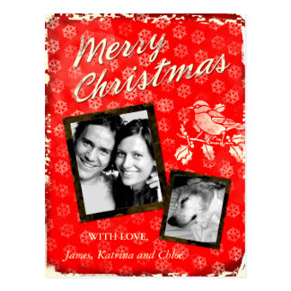 GC | Rustic Merry Christmas Card Add Photo Postcard