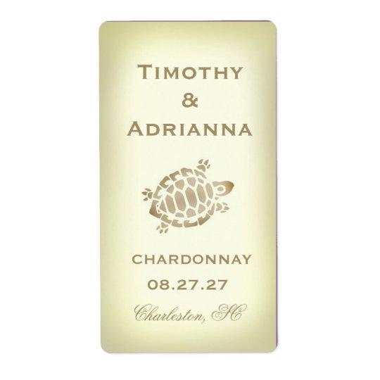 GC Sea Turtle Wedding Wine Label Shipping Label