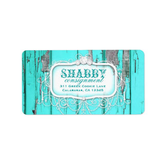 GC Shabby Vintage Aqua Label Address Label