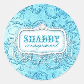 GC Shabby Vintage Blue Swirl Sticker