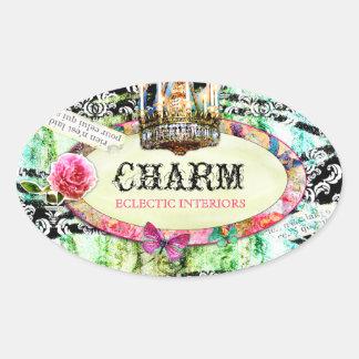 GC   Shabby Vintage Charm - Black Damask Oval Sticker