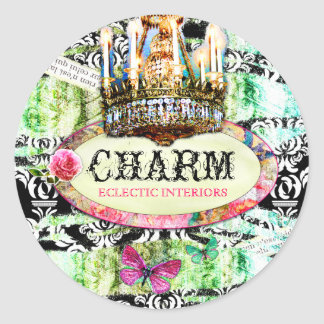 GC Shabby Vintage Charm - Black Damask Round Sticker