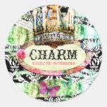 GC Shabby Vintage Charm - Black Damask Round Stickers