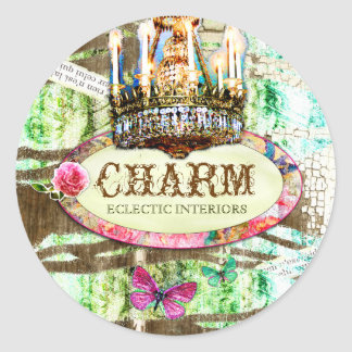 GC | Shabby Vintage Charm - Chipped Paint Round Sticker