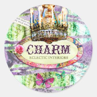 GC   Shabby Vintage Charm - Purple Damask Round Sticker