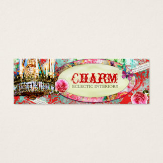 GC Shabby Vintage Charm - Red Turquiose Damask Mini Business Card