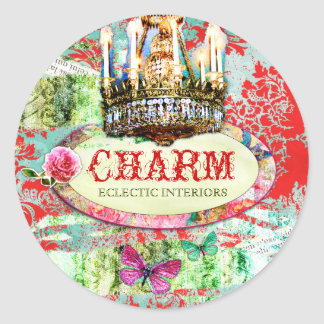 GC | Shabby Vintage Charm - Red Turquiose Damask Round Sticker