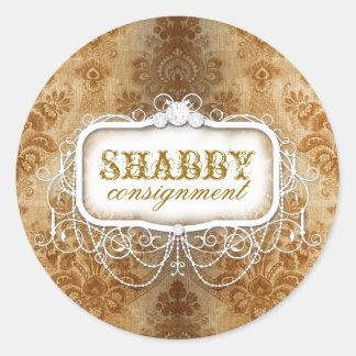 GC Shabby Vintage Gold Damask Sticker