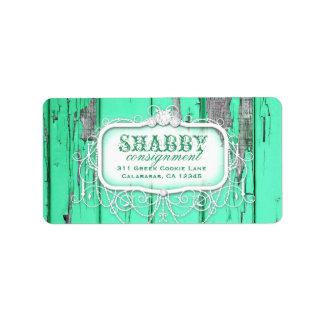GC Shabby Vintage Green Label Address Label