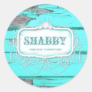 GC Shabby Vintage Wood Aqua Classic Round Sticker