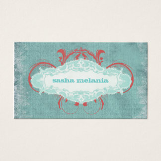 "GC | Tantalizing Turquoise Red ""Aged"" Business Card"