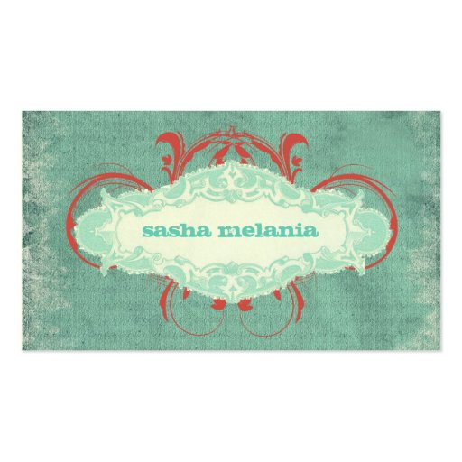 "GC | Tantalizing Turquoise Red ""Aged"" Business Card Templates"
