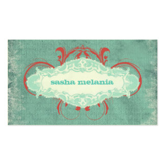 """GC   Tantalizing Turquoise Red """"Aged"""" Pack Of Standard Business Cards"""