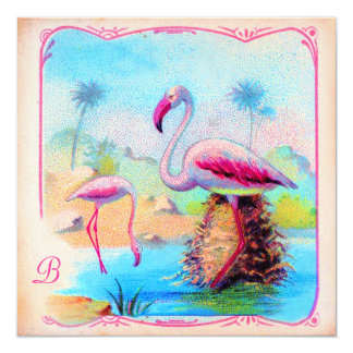GC | Vibrant Vintage Flamingos Card