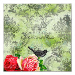 GC | Vintage Bird & Rose | Lime Damask Personalized Invites